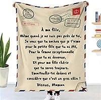 フランス語 豪華なスローブランケット 娘/息子のために 航空郵便 積極的な励まし 印刷された手紙 フリースベッドはスローします パーソナライズされたキルト 誕生日プレゼント,To daughter,140*180cm