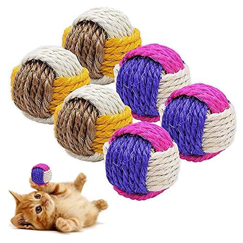 6 Stücke Katze Sisal Ball, Interaktive Haustier Katzenspielzeug Bälle, Umweltfreundliche Kätzchen Bälle, Katzenball aus Sisal-Seil, Katzenspielzeug Ball für Haustier Katzen Spielen