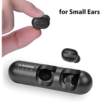 Amazon Com Avantree Tws110 Mini True Wireless Earbuds For Small Ears Canals Sport Bluetooth 5 0 Earphones With Volume Control Mic Clear Sound Charging Case 28h Playtime Electronics