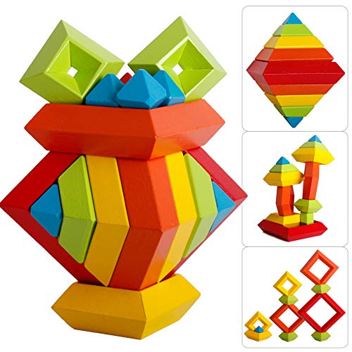 15 PCs Colorful Rainbow Pyramid Stacker Sorter Loop Board Blocks Stacking Sorting Balancing Table Activity Family Play Adults Home Decoration Ornament Kids Set Toy Building Game Kit Brain Teaser