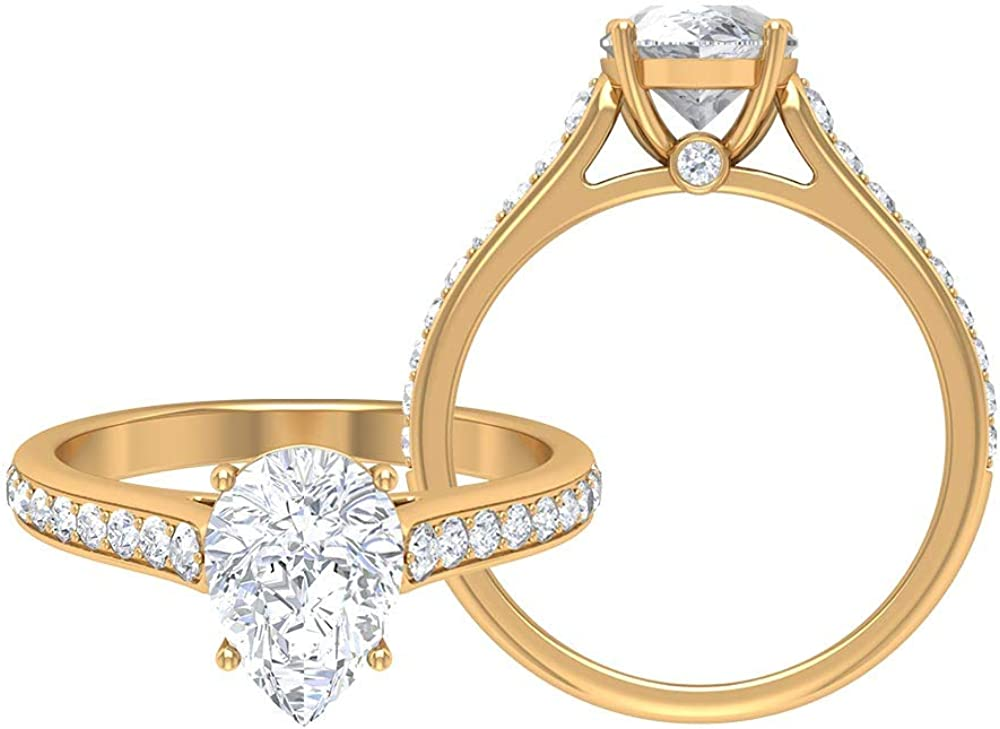2.27 CT half Animer and price revision D-VSSI Pear Shaped Engagemen Moissanite Solitaire Rings