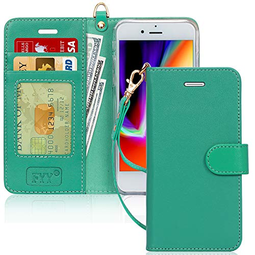 FYY Case for iPhone 7 / iPhone 8, [Kickstand Feature] Luxury Genuine Leather Wallet Case Flip Folio Cover with [Card Slots] and [Note Pockets] for Apple iPhone 7 2016 /iPhone 8 2017 (4.7') Mint Green