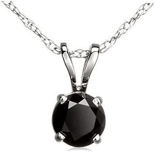 Dazzlingrock Collection 1.15 Carat (ctw) 14k Round Black Diamond Ladies Solitaire Pendant, White Gold