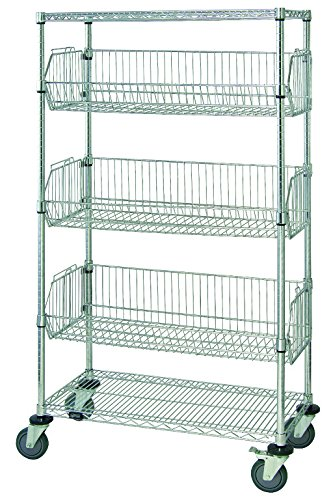Quantum Storage Systems M2448BC6C 5-Tier Mobile Wire Basket Unit with 3 Baskets Chrome Finish 24 Width x 48 Length x 69 Height
