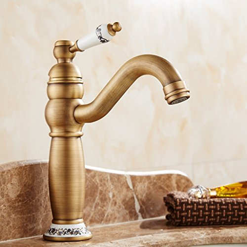 LJ Antique Continental chaud et froid tout bassin de cuivre lavabo simple trou rotation du robinet rétro vanité salle de bain