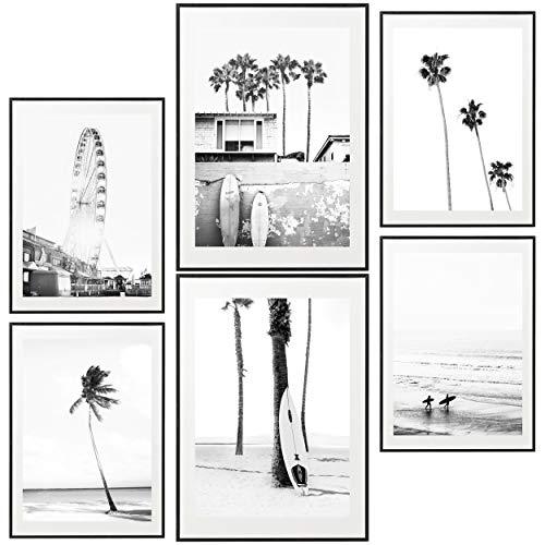 Poster Set, 6 Bilder. Wohnzimmer Modern Schlafzimmer Bild für Ihre Wand. Fotografie-Stil. Groß 30x40 cm 20x30cm. - ohne Rahmen. , Heimdekoration, Zimmer, Wohnzimmer, Schlafzimmer (Schwarz und weiß)
