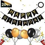 ZAWTR Banniere Joyeux Anniversaire, Banderole Guirlande Anniversaire et Latex Ballons, Banderole Joyeux Anniversaire/Happy Birthday Bannière pour Garcon Fille Fête Anniversaire Décorations (Or Noir)