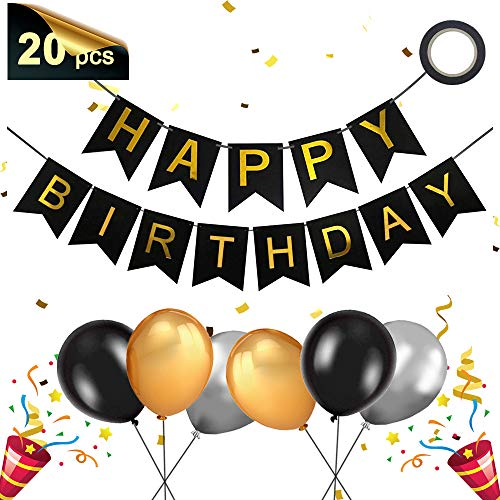 Banniere Joyeux Anniversaire, Banderole Guirlande Anniversaire et Latex Ballons, Banderole Joyeux Anniversaire/Happy Birthday Bannière pour Garcon Fille Fête Anniversaire Décorations (or noir)