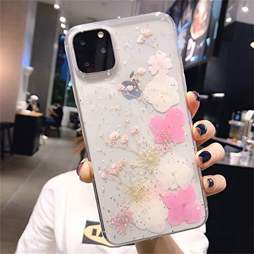 Tybiky Custodia per iPhone 8 Plus/7 Plus, motivo floreale secco; Sparkly Glitter morbido silicone TPU antiurto fiori veri, cover per iPhone 8 Plus/7 Plus