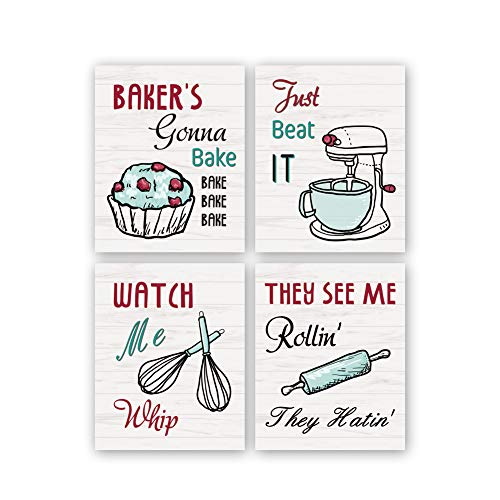 "KAIRNE Funny Kitchen Wall Art Print,Watch Me Whip Quote Canvas Painting,Set of 4 (8""10"",Unframed) Colorful Kitchen Signs Canvas Poster,Baking Room,Restaurant Decor"