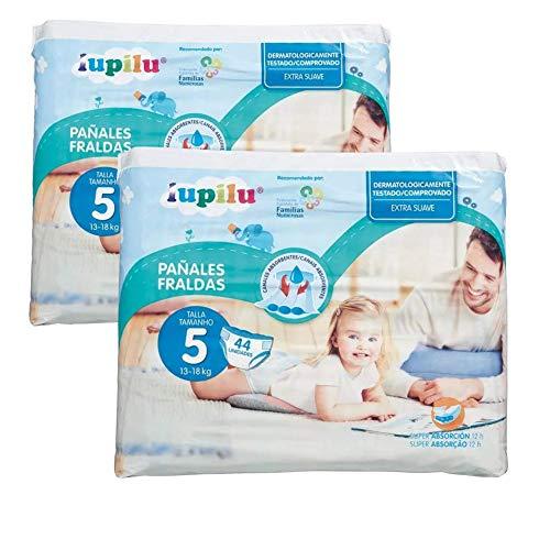 Pañales Lupilu para bebé, ultra secos pañal con canal de aire pant Niño niña (Talla 5 88 Unidades)