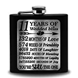Bella Busta- 11 Years of Wedded Bliss- Engraved Stainless Steel Flask-Gift for Wife, Husband, Couple...