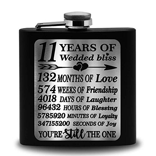 Bella Busta- 11 Years of Wedded Bliss- Engraved Stainless Steel Flask-Gift...