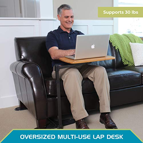 Able Life Universal Swivel TV Tray Table, Work from Home Computer Desk, Compact Laptop Lap Desk Station, Adjustable Bamboo Side Table