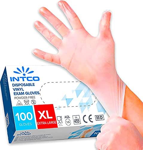 100 guanti in vinile senza polvere, senza lattice, ipoallergenici, certificati CE trasparenti conforme alla norma EN455 e EN374 per i test dei guanti medici monouso (XL)