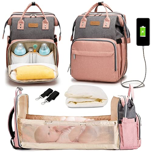 Diaper Bag with Changing Station, Diaper Bags for Baby Girl, Diaper Bag with Bassinet, Newborn Registry Baby Shower Gifts, Multi-Function Travel Mommy Bag Gray-Pink