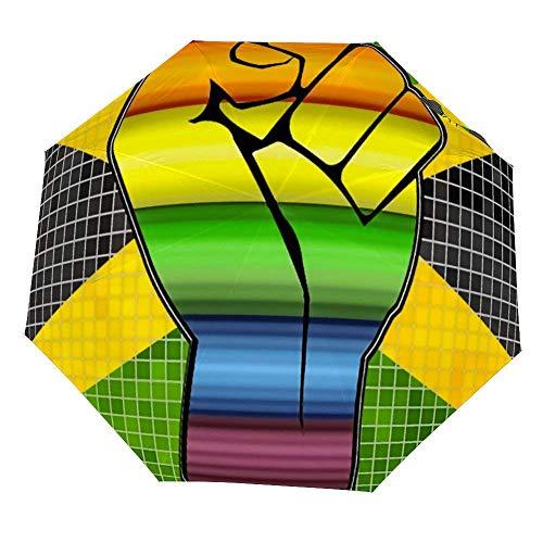 Omgekeerde Winddichte Glanzende LGBT Protest Vuist Op Een Jamaica Vlag Paraplu - Ondersteboven Umbrellas met C-Shaped Handvat voor Vrouwen en Mannen - Dubbele Laag Inside Out Folding Paraplu