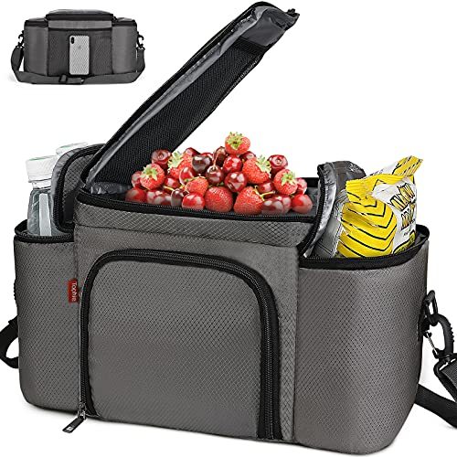 Insulated Lunch Bag for Men and Women, Lunch Box Water-resistant with Removeable Shoulder Strap Reusable Large Lunch Tote Bag for Work/School(NO CONTAINERS)