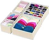 Simple Houseware Closet Underwear Organizer Drawer Divider 4 Set, Beige