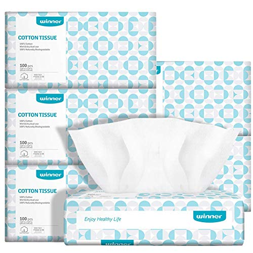 Winner Soft Dry Wipe Made of Cotton Only 600 Count Unscented Cotton Tissues for Sensitive Skin