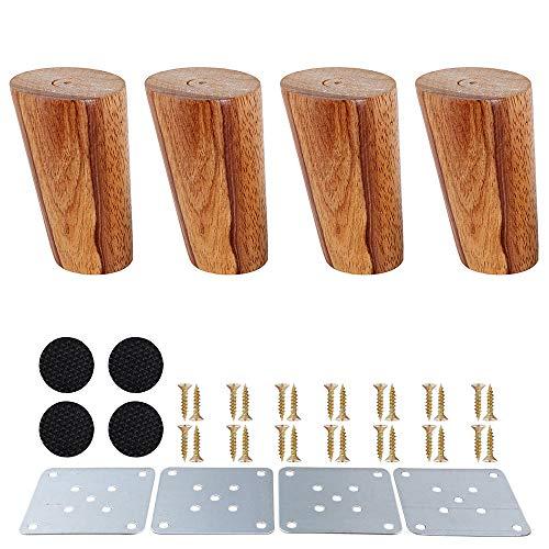 SURFMALL 4 Stück Ersatz Möbelfüße Möbelbeine, Holzfarbe Aus Eiche für Stühle, Schrank und Sofa, mit Schrauben und Filzgleiter, 8 x 5 x 3,8 cm schräg