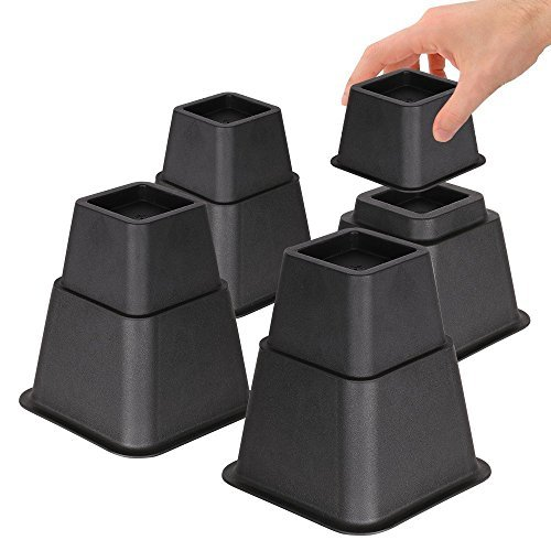 DuraCasa Bed Risers - Raises Your Bed or Furniture to Create Up to an Additional 8 Inches of Storage! Reinforced New Heavy-Duty Design to Hold Over 2000 LBS! Desk, Sofa, and Chair Lift (Black)