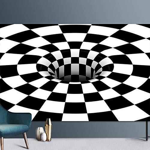 ZAZN Modern Abstract Geometric Style Carpet Living Room Bedroom Coffee Table Entry Mat Non-Slip Visual Illusion Rectangular Floor Mat