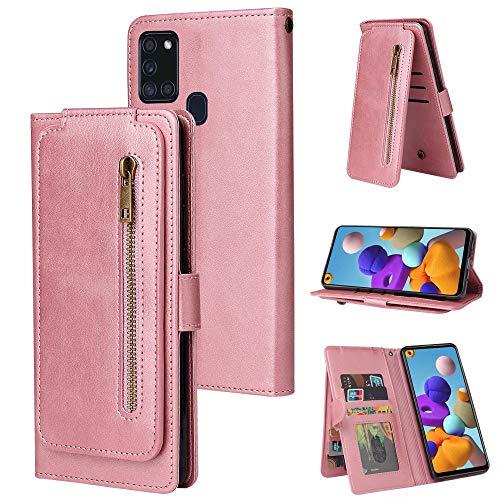 Miagon Reißverschluss Brieftasche Tasche Hülle für Samsung Galaxy A21S,Magnet Stand-Funktion Leder Schutzhülle Flipcase mit 9 Kartenfach und Handschlaufe,Rose Gold
