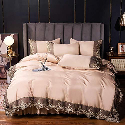 juego de ropa de cama 135x190,Falda de seda de hielo de cuatro piezas de cuatro piezas, 60, lavado de agua, seda, se establece, encaje, encaje, cubierto, cama de seda de satén, sol, regalo-J_1.8m cam