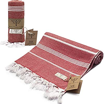Smyrna Classical Series Original Turkish Beach Towel | 100% Cotton, Prewashed, 37 x 71 Inches | Peshtemal and Turkish Bath Towel for SPA, Beach, Pool, Gym and Bathroom (Coral)