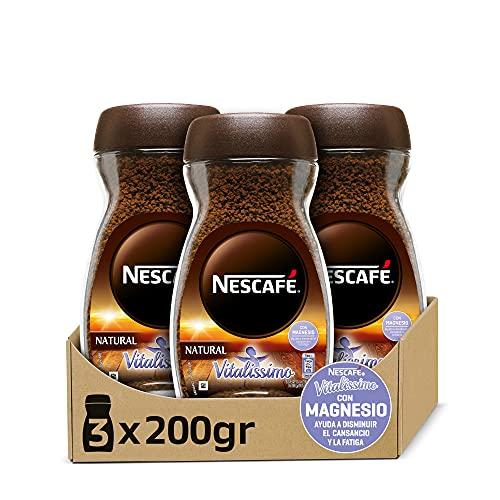 NESCAFÉ VITALISSIMO NATURAL con magnesio, café soluble, frasco de vidrio, Pack de...