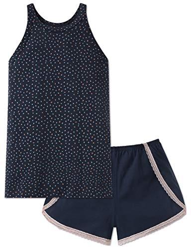 Schiesser Mädchen Anzug kurz Zweiteiliger Schlafanzug, Blau (Blau 800), 140 (Herstellergröße: XS)