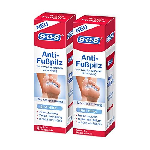 SOS Anti-Fußpilz 2 x 30 ml, Effektive und sanfte Komplettlösung aus Wundheilung und Infektionsschutz, Gel zur symptomatischen Fußpilz Behandlung, 2 x Monatspackung