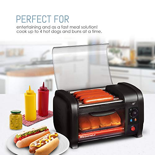 Product Image 3: Elite Gourmet EHD-051B Hot Dog Toaster Oven, 30-Min Timer, Stainless Steel Heat Rollers Bake & Crumb Tray, World Series Baseball, 4 Bun Capacity, Black