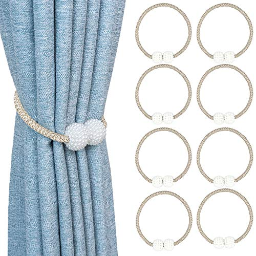 8 Pack Magnetic Curtain Tiebacks Strong and Durable Pearl Style Window Decorative Weave Rope16 Inch Long Drapery Holdback Holders Perfect for Home Office Bathroom Decoration(Beige)