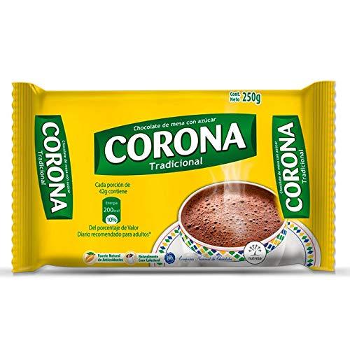 Corona - Preparado de Cacao con Azúcar en Tableta para Fundir en la Taza - Producto Colombiano - Ideal para Una Buena Chocolatada 10 Tabletas - 250 Gramos Neto