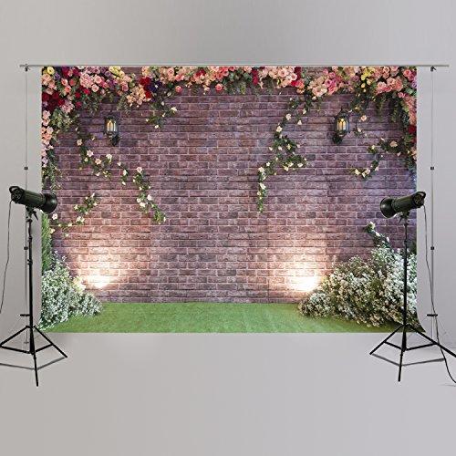 Ducha de Novia Vintage ladrillo y Floral Fondo Grande 3D Flores Blush Fondo para Fotografía Imágenes XT-6793