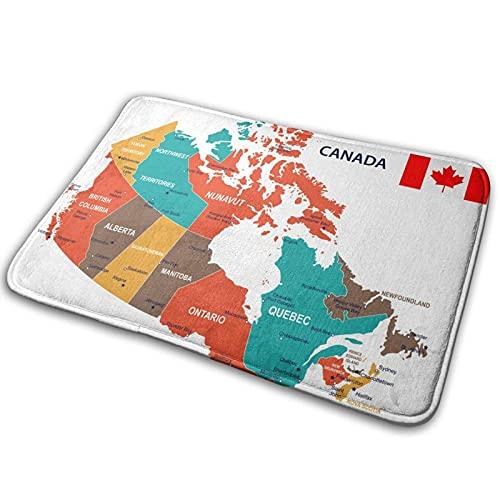 Alfombra de baño para puerta de baño, diseño de mapa de Canadá y bandera de espuma viscoelástica para cocina en el interior al aire libre de 15,7 x 59,7 cm