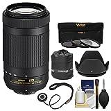 Nikon 70-300mm f/4.5-6.3G DX AF-P ED Zoom-Nikkor Lens with 3 Filters + Hood + Pouch + Kit for D3300, D3400, D5500, D7100, D7200 Cameras