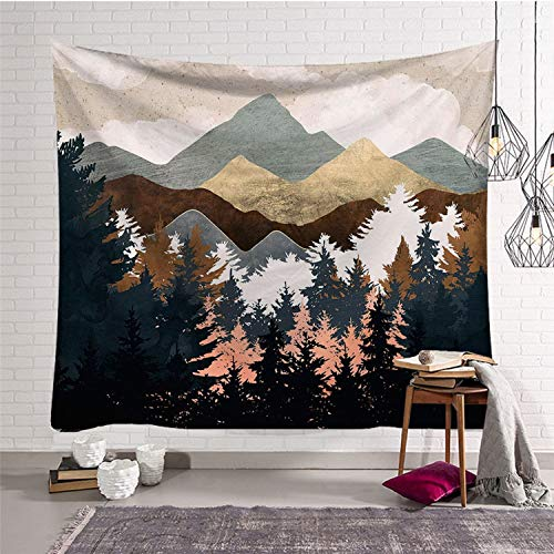 Fostudork Tapestry Aufhänger für Wände Bohemian Berg Sun Druck Wandteppiche Hippie Mandala Wandbehang Hintergrund Dekor-Sofa-Abdeckung Yoga-Matten-Inneneinrichtungen, 3,150X150Cm,