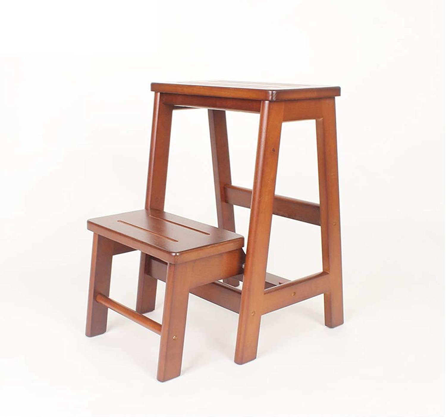 NEVYLadder Stools, Rubber Wood Thickening Ladder Home Step Stool 2 3 Steps, Multifunction Folding Chairs Nonslip Stable (color   BROWN, Size   2 layers)