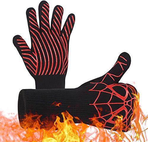 1 Paar Ofenhandschuhe mit Fingern - Grillhandschuhe Hitzebeständig bis zu 800 Grad für Männer und Frauen Anti-Rutsch Kochhandschuhe zum Grill Kochen Backen im Küche oder Outdoor