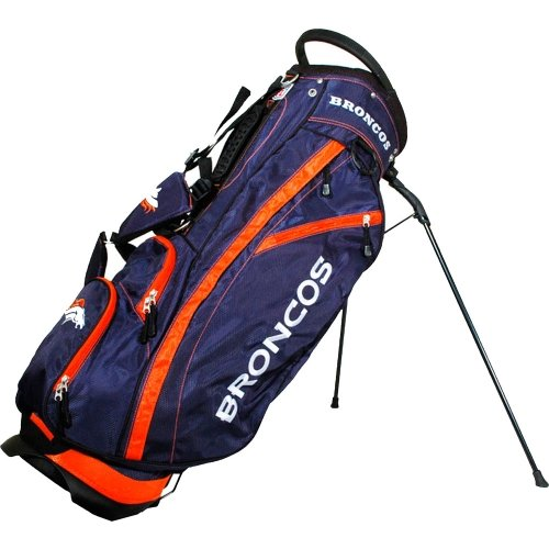 Team Golf NFL Denver Broncos Fairway Golf Stand Bag, Lightweight, 14-way Top, Spring Action Stand, Insulated Cooler Pocket, Padded Strap, Umbrella Holder & Removable Rain Hood