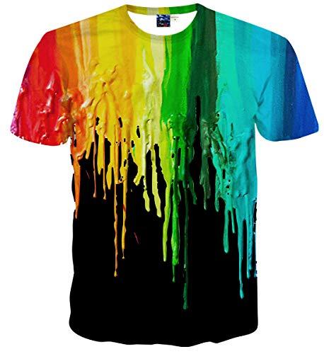 Sykooria Unisex T Shirts 3D Druck Grafik Lustig Bunte Tinte Kurzarm Sommer Damen T-Shirt
