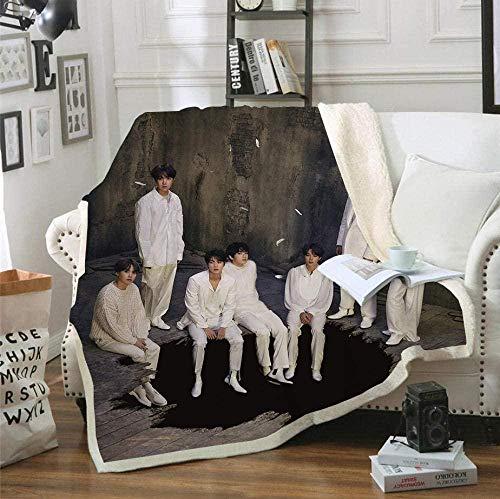 NBSZZDKL Manta de Franela 3D BTS para Sofá Cama sofá Estampado Acogedor Manta de decoración de Dormitorio de Felpa para niños Adultos-El 130x150cm