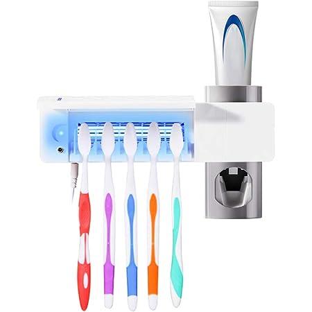 Nuova Versione MECO Portaspazzolino UV Sterilizzatore Spazzolini da Denti Asciugare Contatore del Tempo 5 Porta Spazzolino Set per Spazzolini da Denti Elettrici Oral-B Supporto da Muro con Copertina