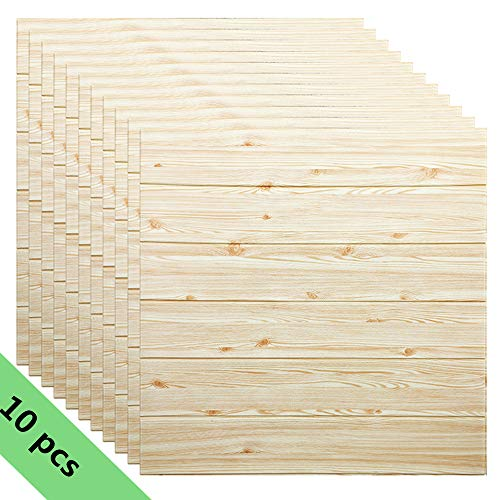 10 Pcs Carta da Parati Mattoni Legno 3d, YTAT 3D Wood Wallpaper Stickers, parete smontabile e bastone adesivo per parete in PE a schiuma per Cucina, Bagno, Soggiorno, Salone, Ufficio, TV Sfondo