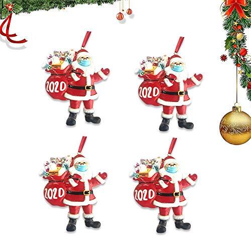 Zueyen 4X Weihnachtsmann Weihnachten Ornament mit Maske 2020, Weihnachtsbaum Anhänger, Urlaub Dekorationen Xmas Geschenke