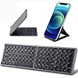 Foldable Bluetooth Keyboard with Numeric Keypad - Samsers Full Size Portable Wireless Keyboard with Holder, Rechargeable Pocket Folding Keyboard for IOS Windows Android Phone Tablet Laptop - Dark Grey