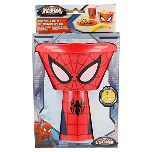 2075; Stapelbare ontbijtset of snack Spiderman; samengesteld uit een kom, een bord en een glazen, plastic product, gratis BPA